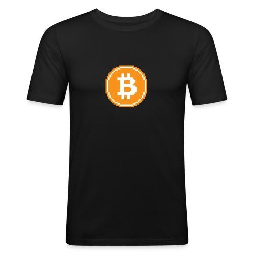 CryptoFR Bitcoin pixel art - T-shirt près du corps Homme
