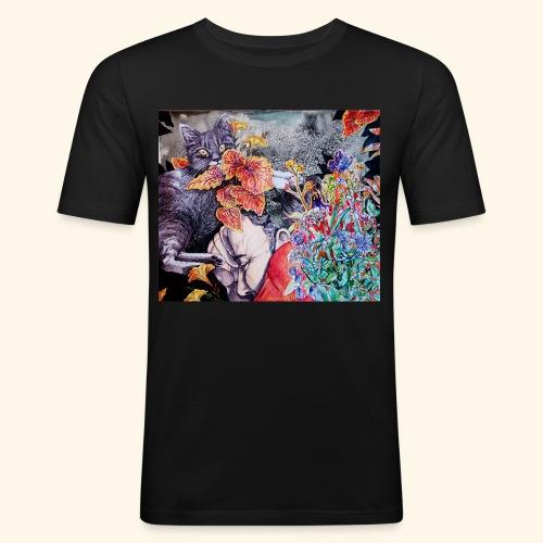 Nap and a cat - Miesten tyköistuva t-paita