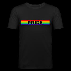 Gay pride rainbow vlag met de tekst Pride - slim fit T-shirt
