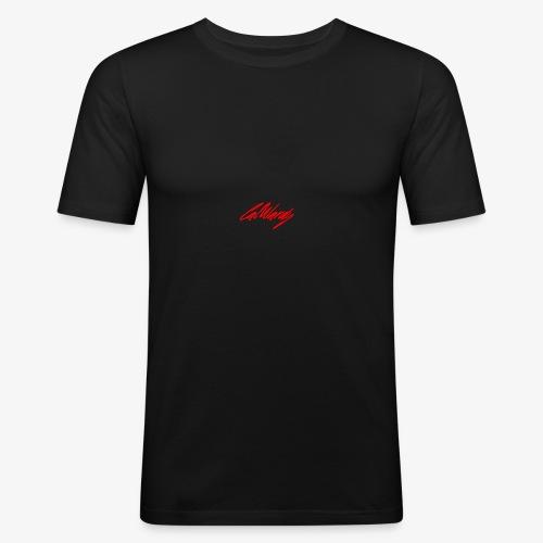 Cal Wardy Signature - Black T-Shirt - Red Font - Men's Slim Fit T-Shirt