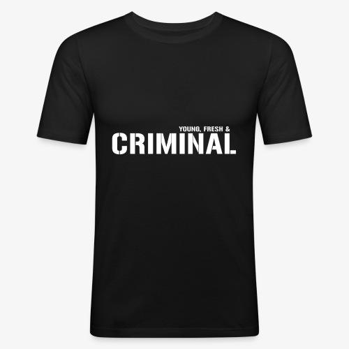 Y F CRIMINAL Logo White - Männer Slim Fit T-Shirt