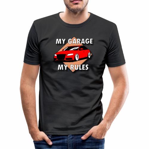 My Garage My Rules roter Wagen mit Schild - Männer Slim Fit T-Shirt