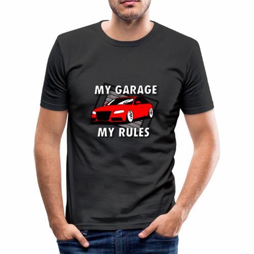 My Garage My Rules roter Sportwagen vor Garage - Männer Slim Fit T-Shirt