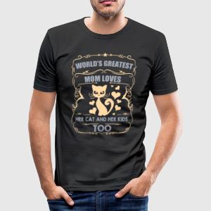 Monde plus grand maman aime son chat / enfants - Tee shirt près du corps Homme