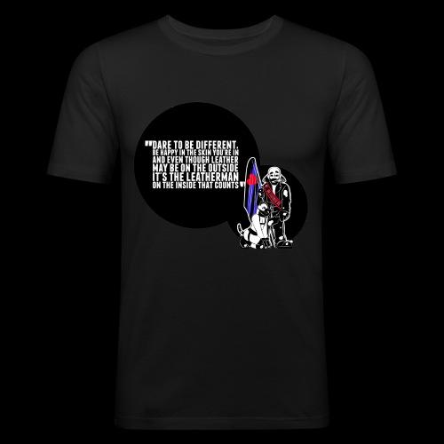 Mr Leather UK 2017 with Slogan - Men's Slim Fit T-Shirt