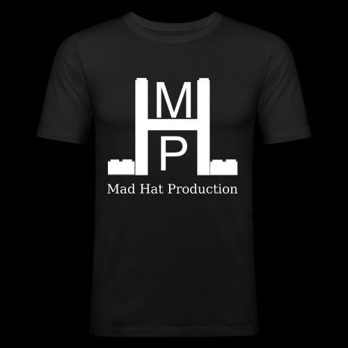 Mad Hat Logo | Weiß - Männer Slim Fit T-Shirt
