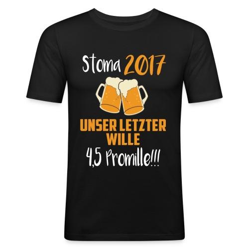 Stoma 2017. Unser letzter WIlle 4,5 Promille. - Männer Slim Fit T-Shirt