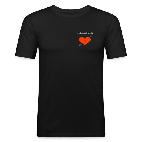 Antiquated Hearts cupids arrow white lettering - Men's Slim Fit T-Shirt