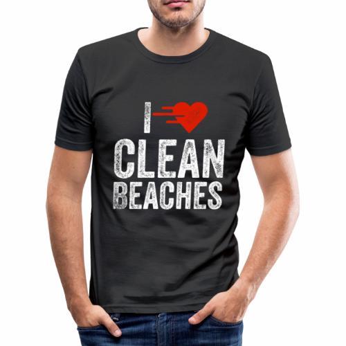 I Love Clean Beaches Shirt Save the Planet Shirt - Männer Slim Fit T-Shirt