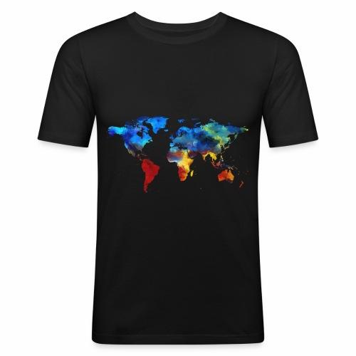 Bunte Welt - Männer Slim Fit T-Shirt