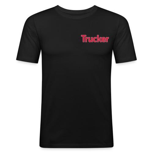 Trucker - kleines Logo - Männer Slim Fit T-Shirt