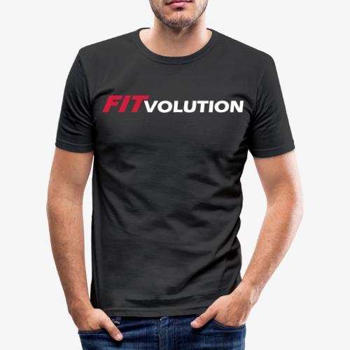 Großes, weißes Fitvolution-Logo - Männer Slim Fit T-Shirt
