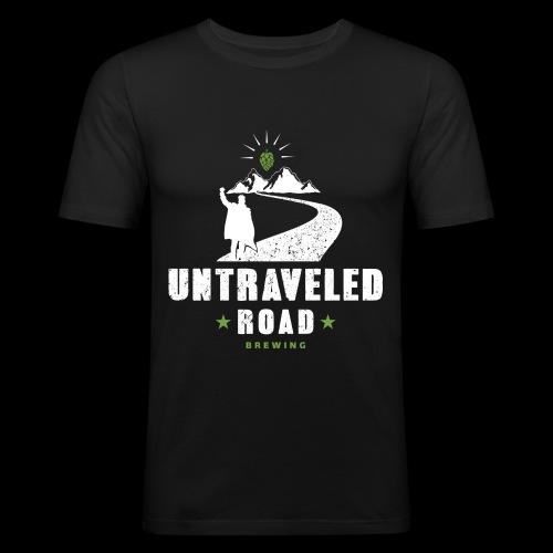 Untraveled Road Logo - weiß - Männer Slim Fit T-Shirt