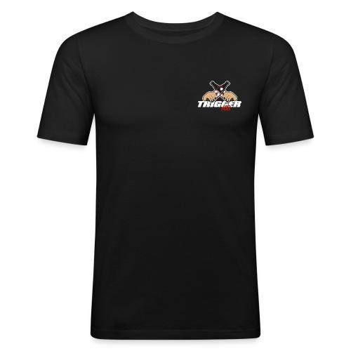 Trigger Weiß kleines Logo - Männer Slim Fit T-Shirt