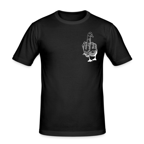 Etched Goose on Black - Men's Slim Fit T-Shirt