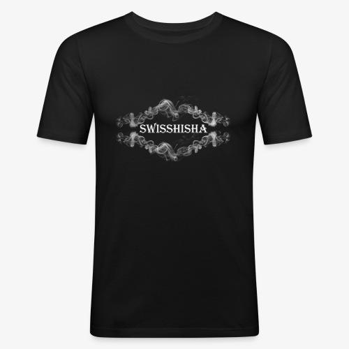 weisse Schrift auf schwarzem Grund - Männer Slim Fit T-Shirt