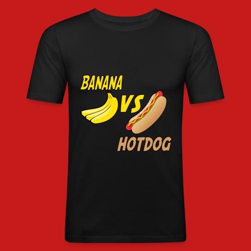 BANANA VS HOTDOG DESIGN T-SHIRT - Men's Slim Fit T-Shirt