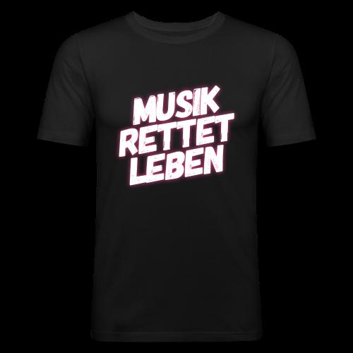 MUSIK RETTET LEBEN LOGO PINK - Männer Slim Fit T-Shirt