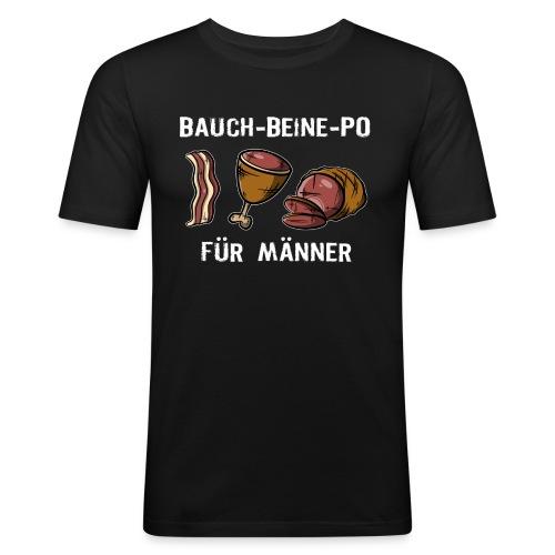 Bauch-Bein-Po - Für Männer, Grillfleisch VS Sport - Männer Slim Fit T-Shirt