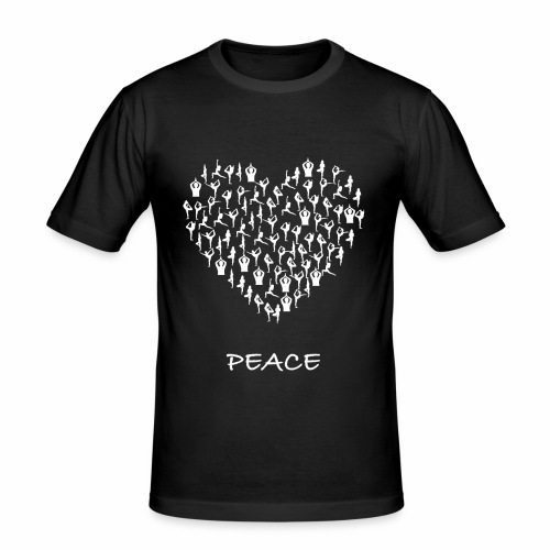 Peace Yoga Heart With Tiny Yoga Poses Meditation - Slim Fit T-skjorte for menn