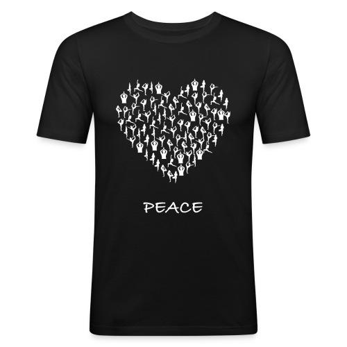 Peace Yoga Heart With Tiny Yoga Poses Meditation - Slim Fit T-skjorte for menn