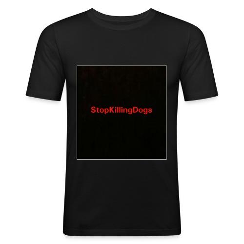 StopKillingDogs Aufschrift - Männer Slim Fit T-Shirt