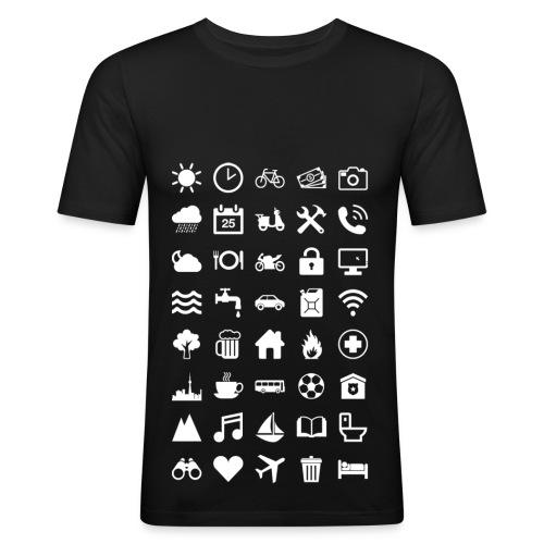 Travel Icons (white) - Männer Slim Fit T-Shirt