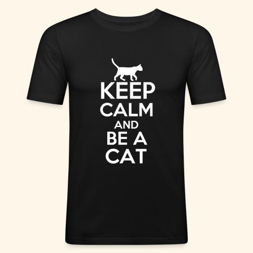 Keep Calm Katzen T-Shirt Englisch - Männer Slim Fit T-Shirt