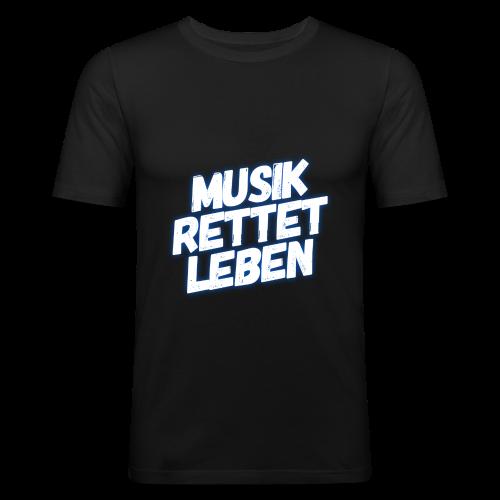 MUSIK RETTET LEBEN LOGO BLAU - Männer Slim Fit T-Shirt