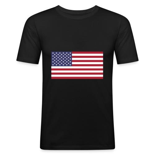 Small American Flag - Men's Slim Fit T-Shirt