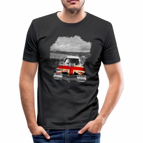 Oldtimer with British flagg. - Männer Slim Fit T-Shirt