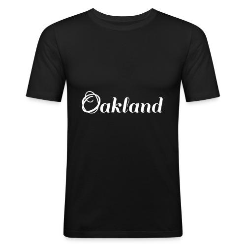 Oakland | Logo | Vit - Slim Fit T-shirt herr