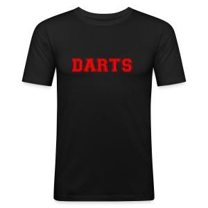 DARTS - Schriftzug in rot - Männer Slim Fit T-Shirt