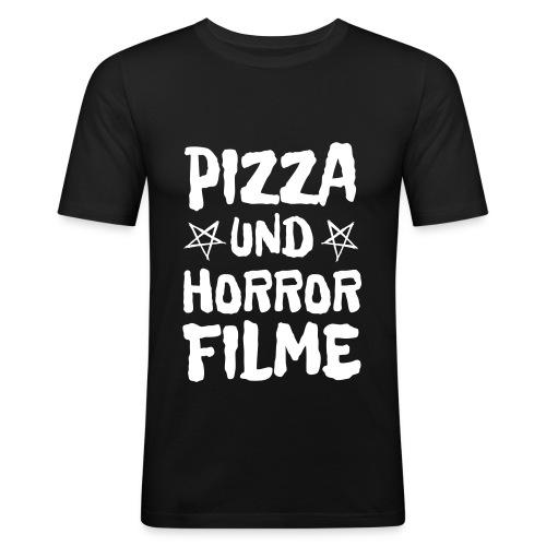 Pizza und Horrorfilme für Film Nerds und Hipster - Männer Slim Fit T-Shirt