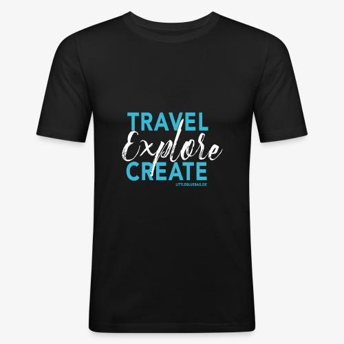 Travel explore create hellblau weiss - Männer Slim Fit T-Shirt