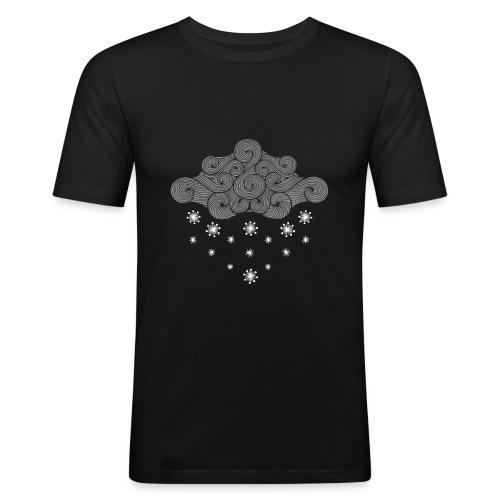 nuage gris et flocons vacances d'hiver - T-shirt près du corps Homme