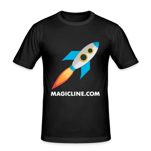 Rocket Magicline com Typo weiss DIN A3 - Männer Slim Fit T-Shirt