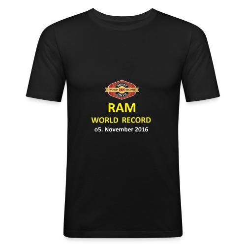 RWR gelb mit Datum (weiß) - Männer Slim Fit T-Shirt