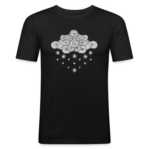 nuage blanc et flocons vacances d'hiver - Tee shirt près du corps Homme