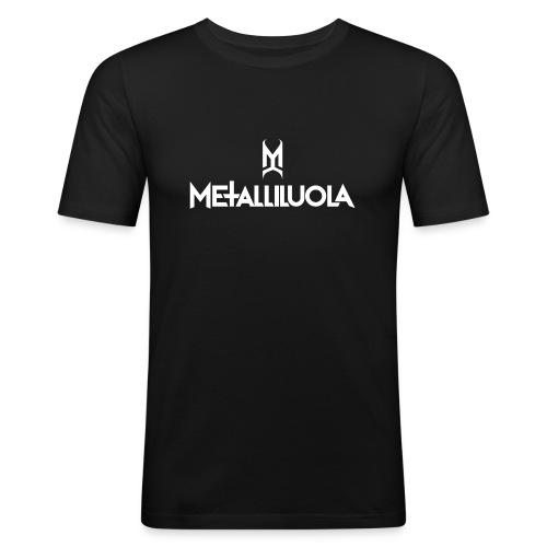 Metalliluola valkoinen logo - Miesten tyköistuva t-paita