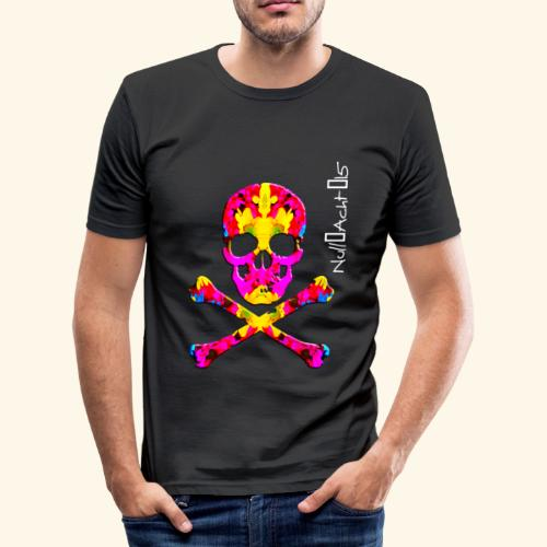 skull with white type - Männer Slim Fit T-Shirt