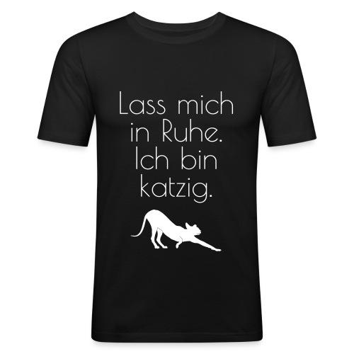 Zicken-Humor mit schwarzer Katze - Männer Slim Fit T-Shirt