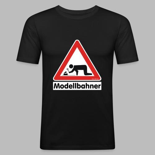 Warnschild Modellbahner Dampflok - Männer Slim Fit T-Shirt