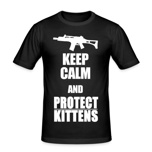 Keep Calm and Protect Kittens - Männer Slim Fit T-Shirt