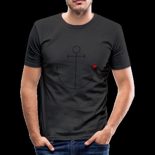Anker mit Herz - Männer Slim Fit T-Shirt