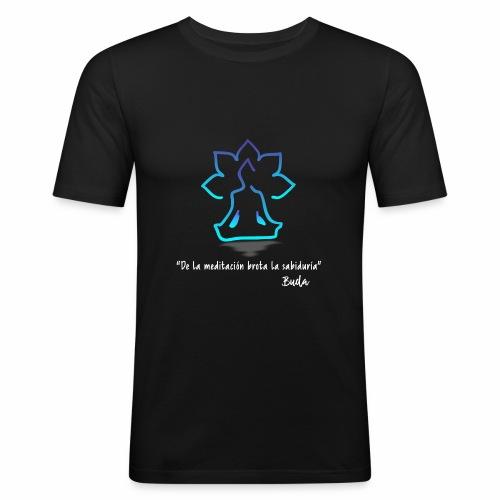 De la meditación brota la sabiduría blanco - Camiseta ajustada hombre