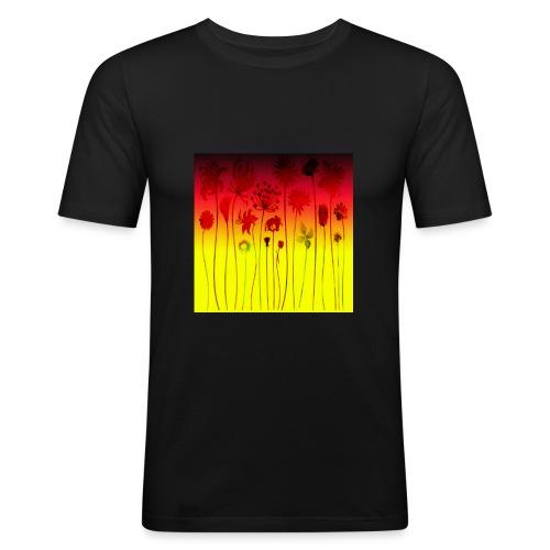 scharz-rot-gold-blume - Männer Slim Fit T-Shirt