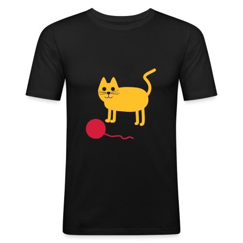 Katze mit Wollknäul - Männer Slim Fit T-Shirt