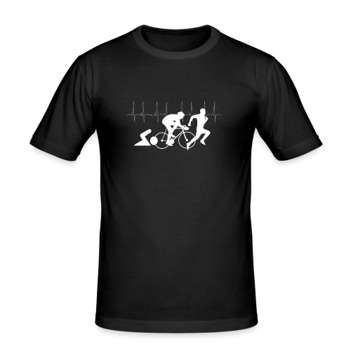 Ich liebe Triathlon Herzschlag T-Shirt - Männer Slim Fit T-Shirt