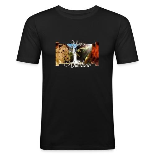 Wasserfall, Berge, Pflanzen, - Enjoy Outdoor - Männer Slim Fit T-Shirt